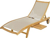 Ploss Teak Gartenliege Richmond, taupe